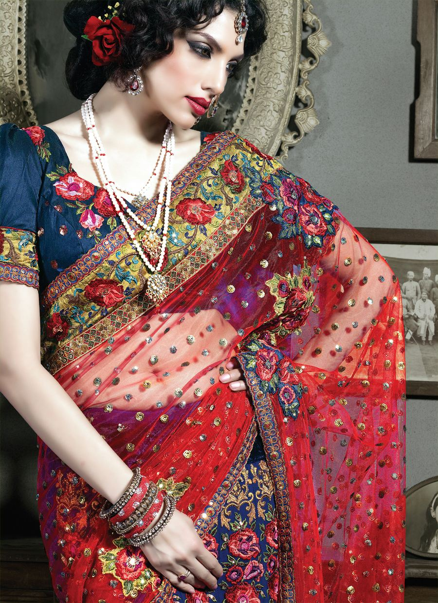 Sarees in Vibrant Colors with Embroidery